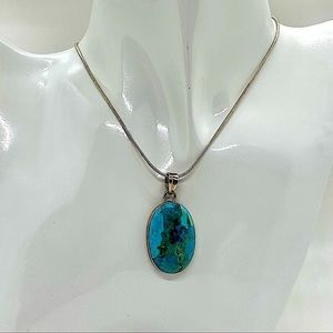 925 Sterling Silver Rare Damele Turquoise Necklace